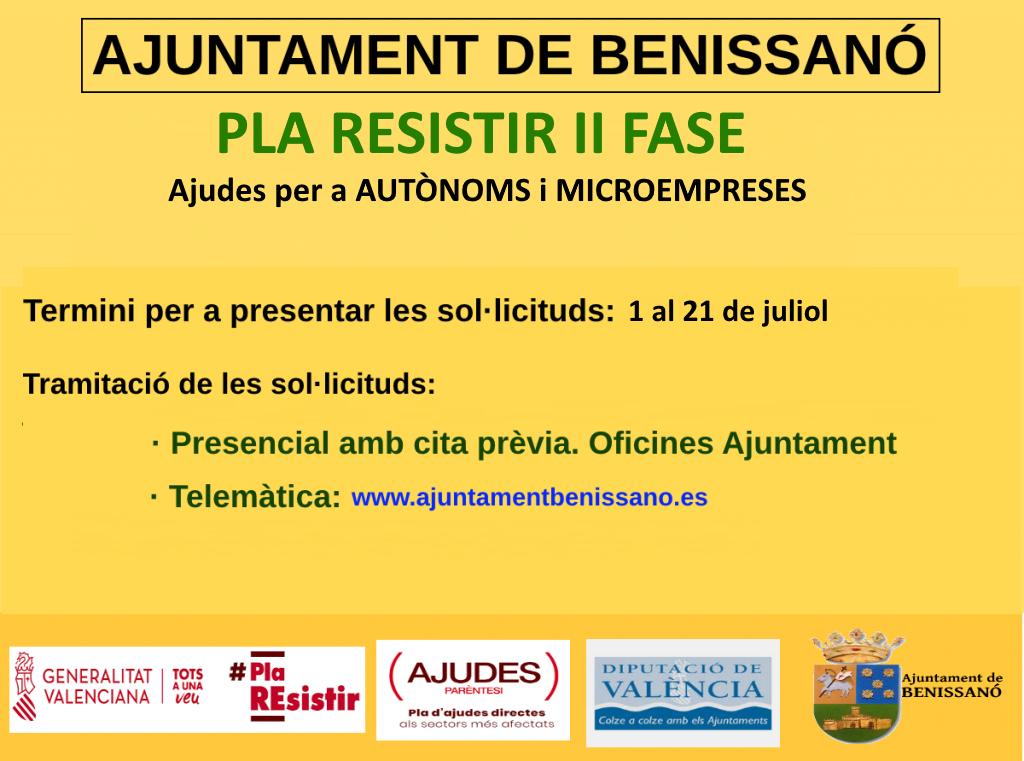 L'Ajuntament de Benissanó anuncia el Pla Resistir Fase 2